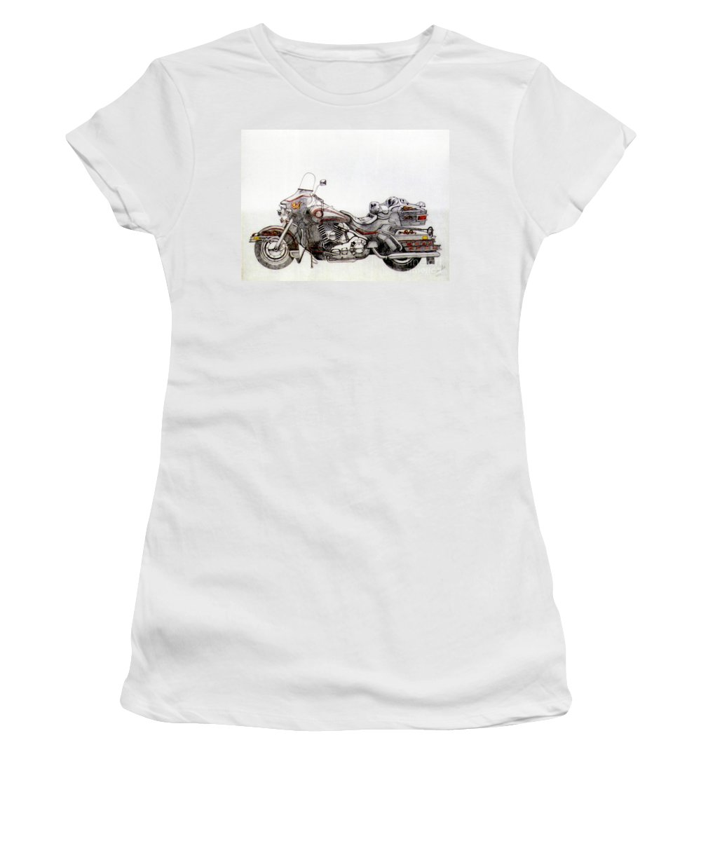 Kick Women's T-Shirt featuring the drawing Super Smooth by Stephen Brooks