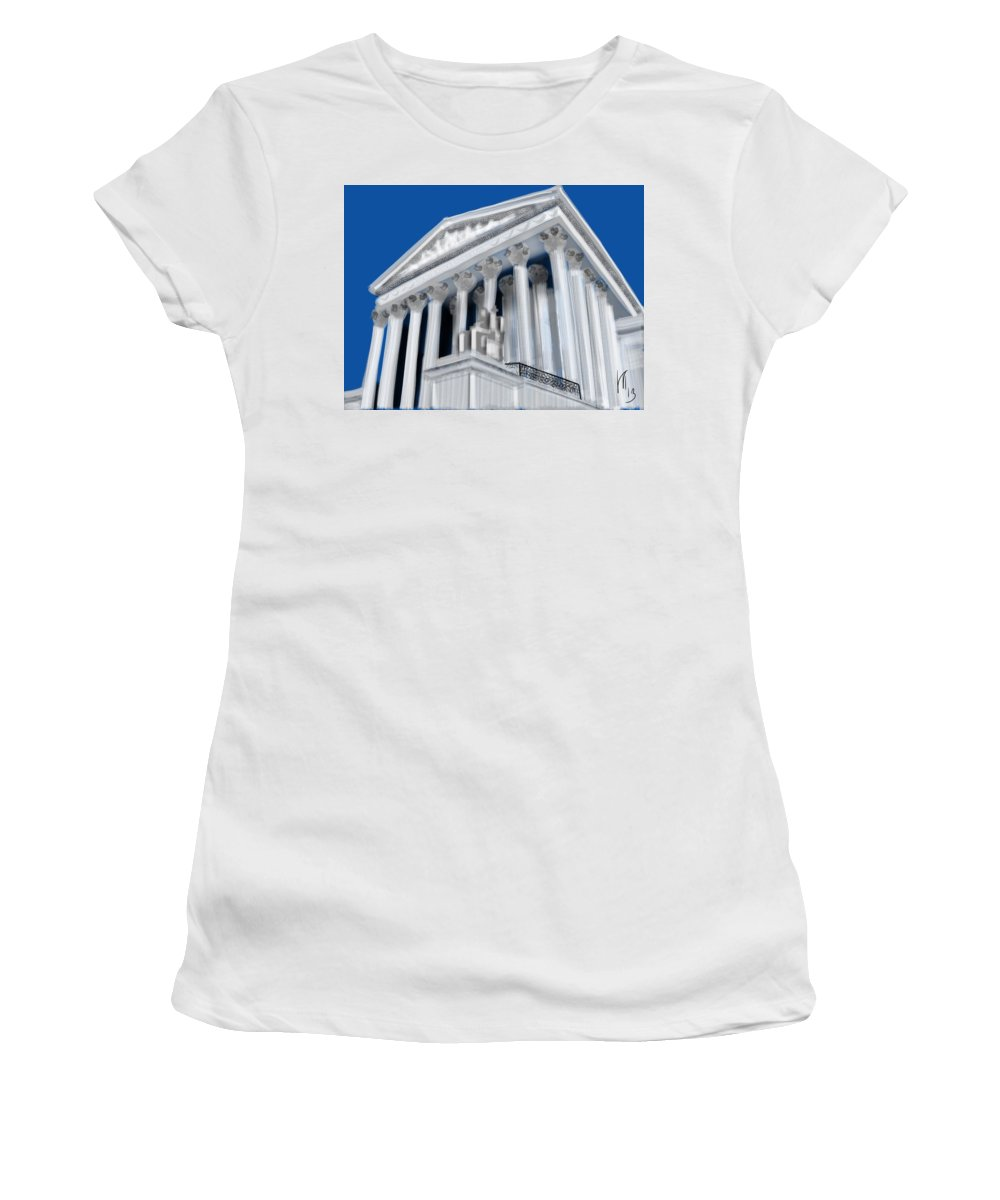 Supreme Court Women's T-Shirt (Athletic Fit) featuring the painting Supreme Court by Lois Ivancin Tavaf