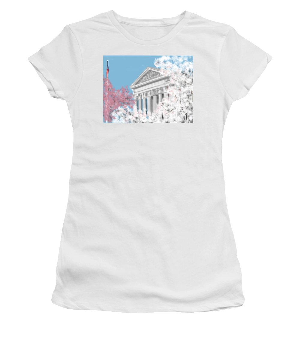 Supreme Court Women's T-Shirt (Athletic Fit) featuring the painting Supreme Court Washington Dc by Lois Ivancin Tavaf