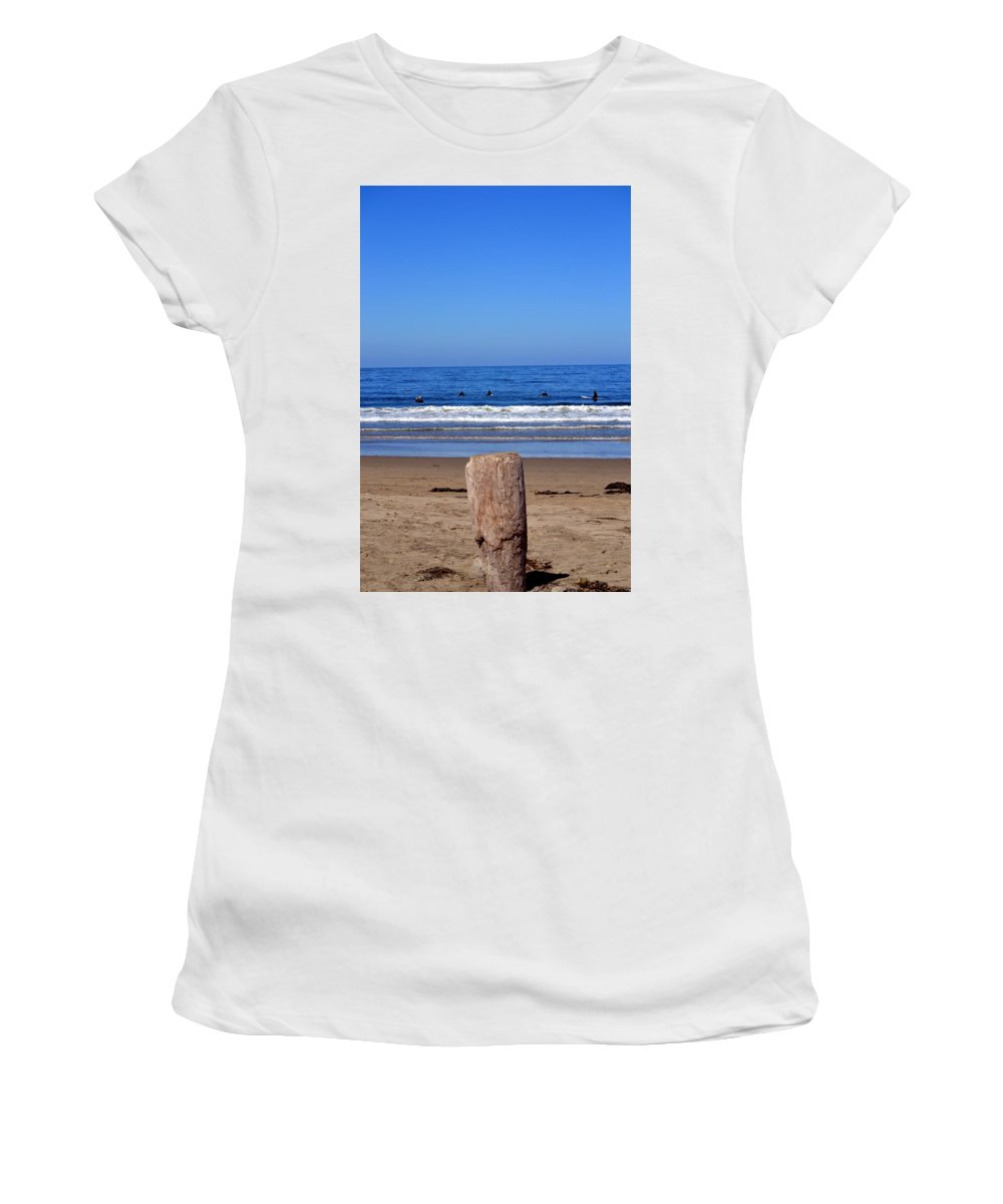 California Women's T-Shirt (Athletic Fit) featuring the photograph Surfers Waiting.... by Dean Ferreira