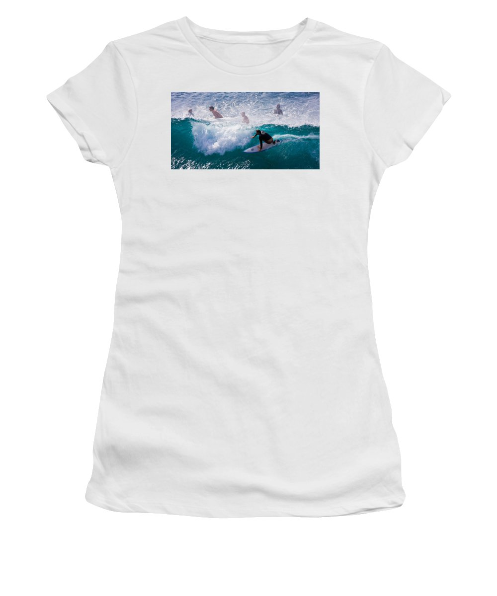 3scape Photos Women's T-Shirt (Athletic Fit) featuring the photograph Surfing Maui by Adam Romanowicz