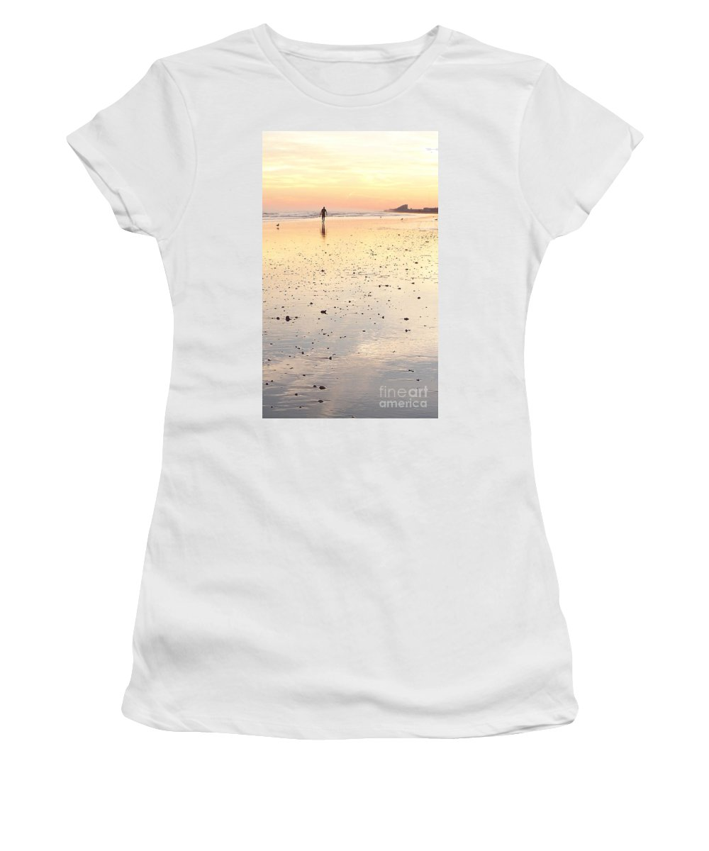 Surfing Women's T-Shirt (Athletic Fit) featuring the photograph Surfing Sunset by Eric Schiabor