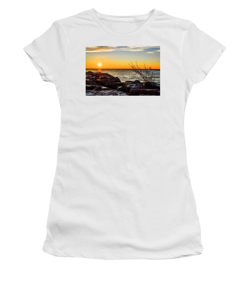 Sunrise Women's T-Shirt (Athletic Fit) featuring the photograph Surprise Sunrise by James Meyer