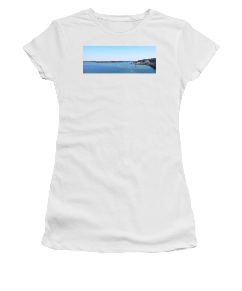 Susquehanna Women's T-Shirt (Athletic Fit) featuring the photograph Susquehanna River And The Thomas J Hatem Bridge by Bill Cannon