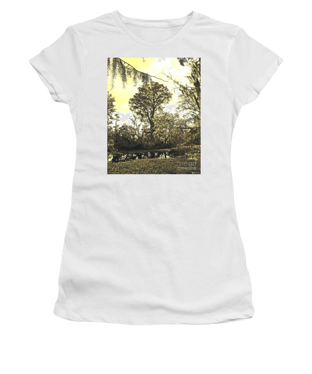 Jean Lafitte National Preserve Women's T-Shirt (Athletic Fit) featuring the photograph Swamp by Lizi Beard-Ward