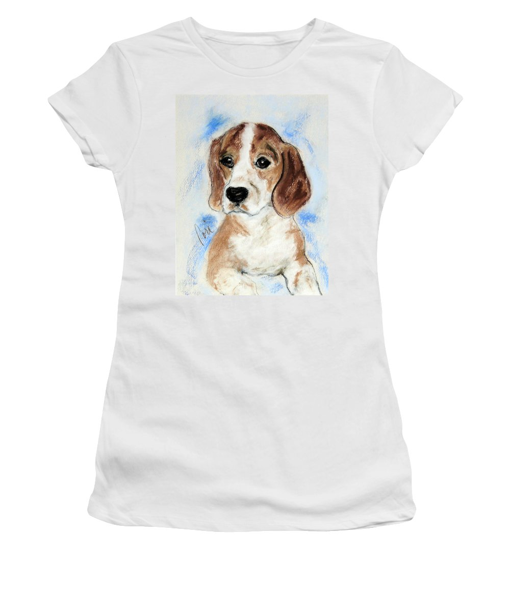 Dog Women's T-Shirt (Athletic Fit) featuring the drawing Sweet Innocence by Cori Solomon