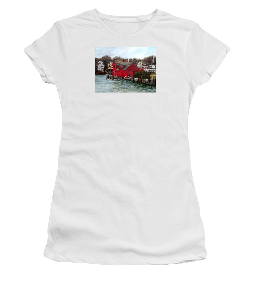 Rockport Women's T-Shirt featuring the painting Swells In The Harbor by Eileen Patten Oliver