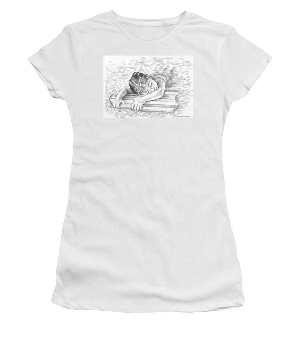 Girl Women's T-Shirt (Athletic Fit) featuring the drawing Swimming Girl by Nicole Zeug