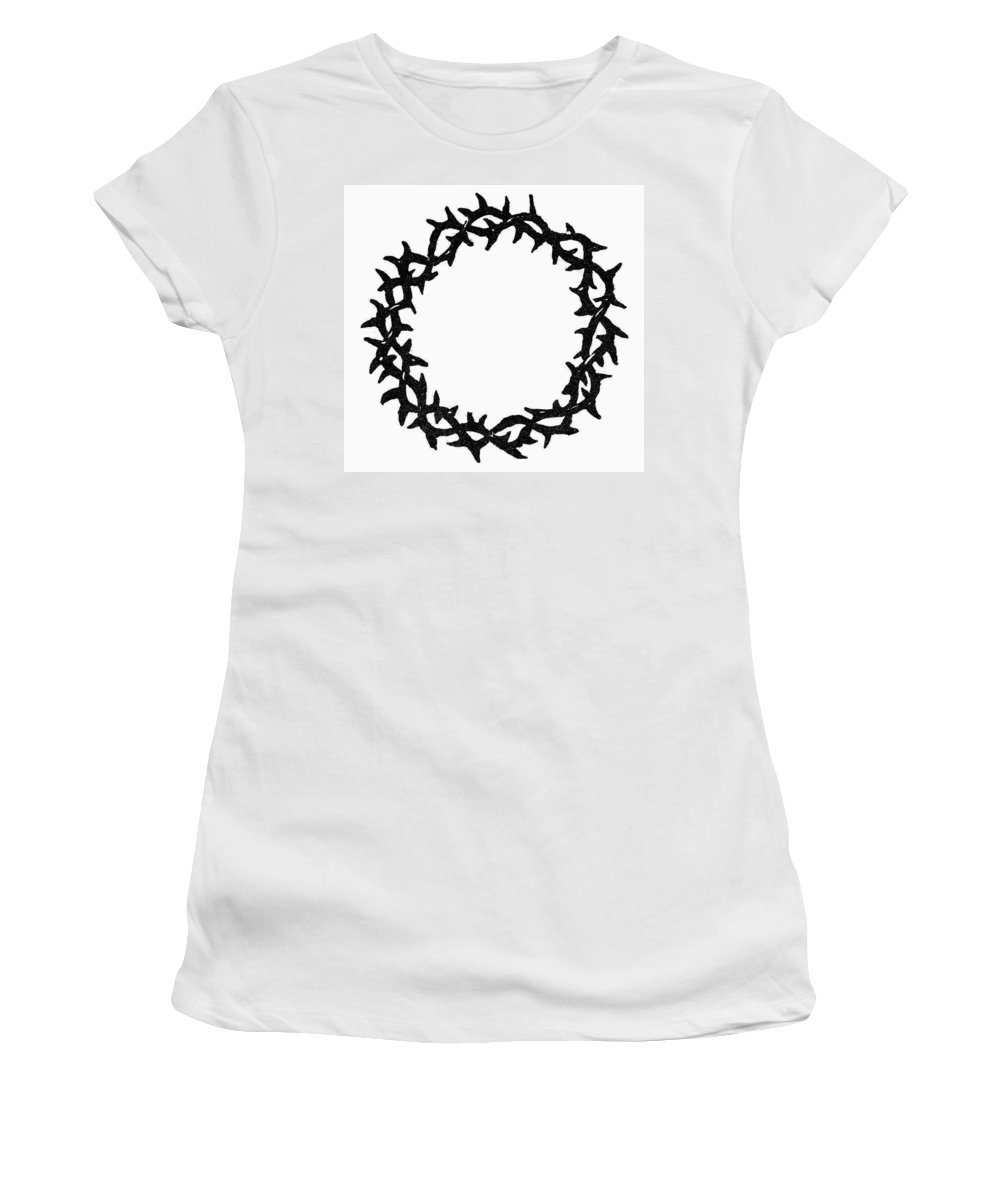 Christianity Women's T-Shirt (Athletic Fit) featuring the painting Symbol Crown Of Thorns by Granger