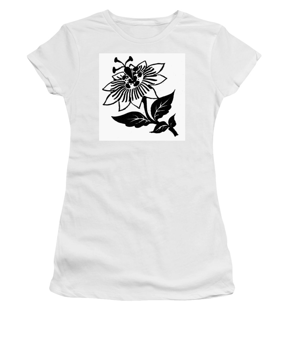 Biology Women's T-Shirt (Athletic Fit) featuring the drawing Symbol Passion Flower by Granger