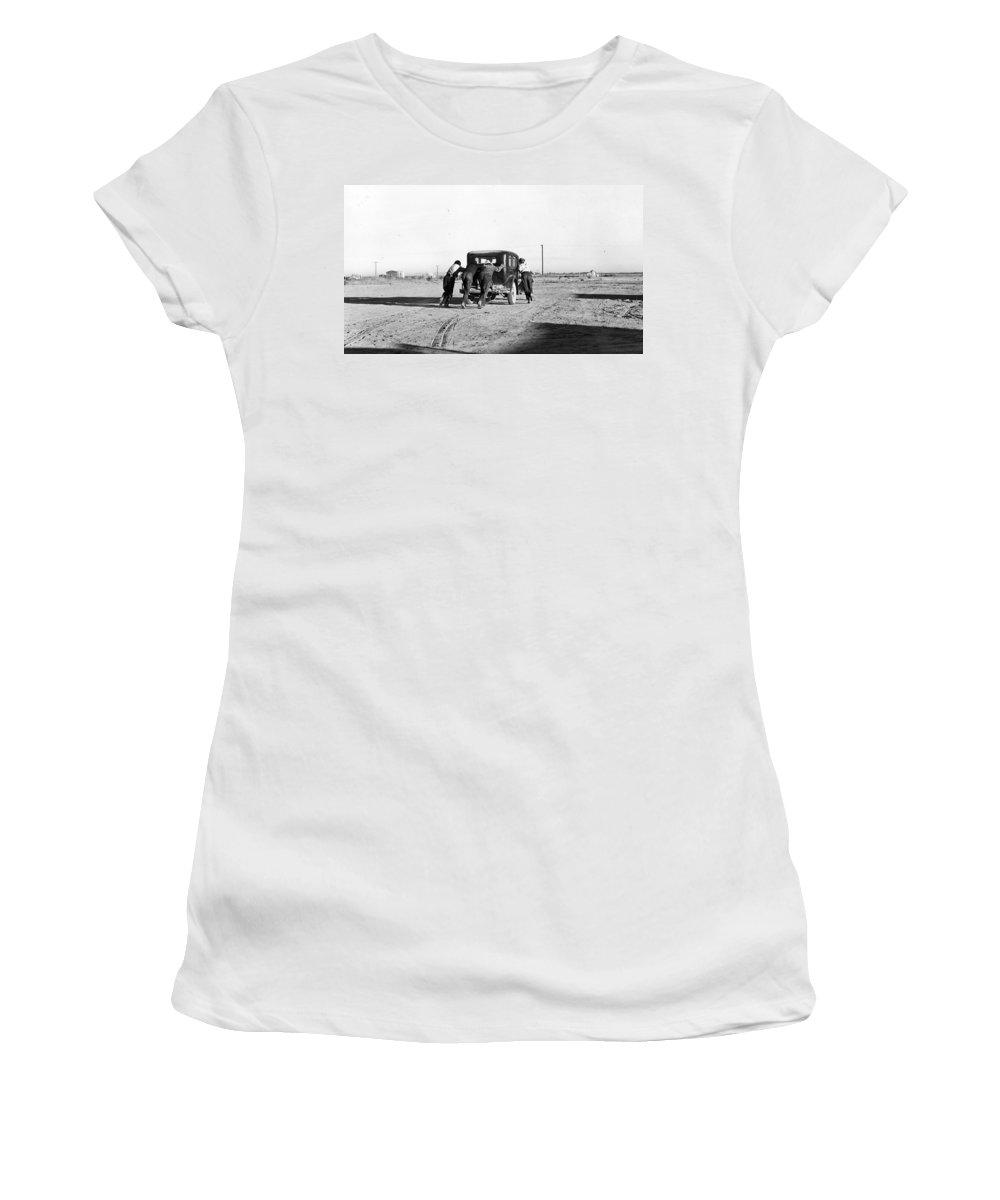 Men Car Vintage Broken Photograph 1940 American Cotton Farm Street Desert Women's T-Shirt (Athletic Fit) featuring the photograph Take The Long Way Home by Steve K