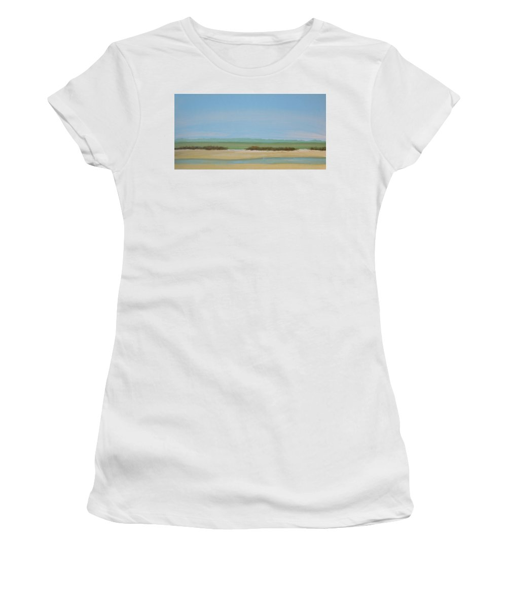 Beach Women's T-Shirt (Athletic Fit) featuring the painting Tan Dunes by Rhodes Rumsey