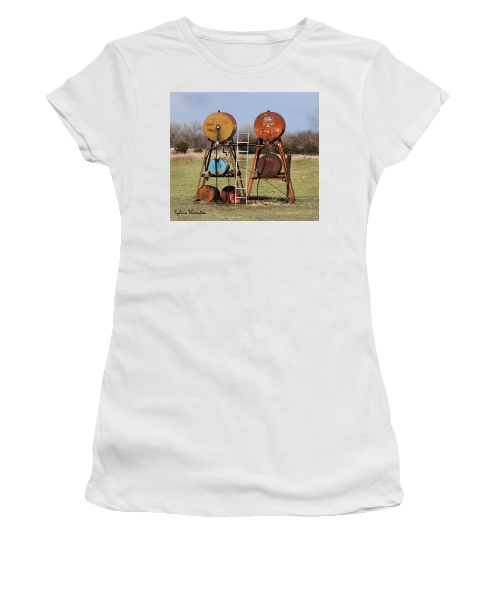 Gas Tank Women's T-Shirt (Athletic Fit) featuring the photograph Tanks For The Memories by Sylvia Thornton