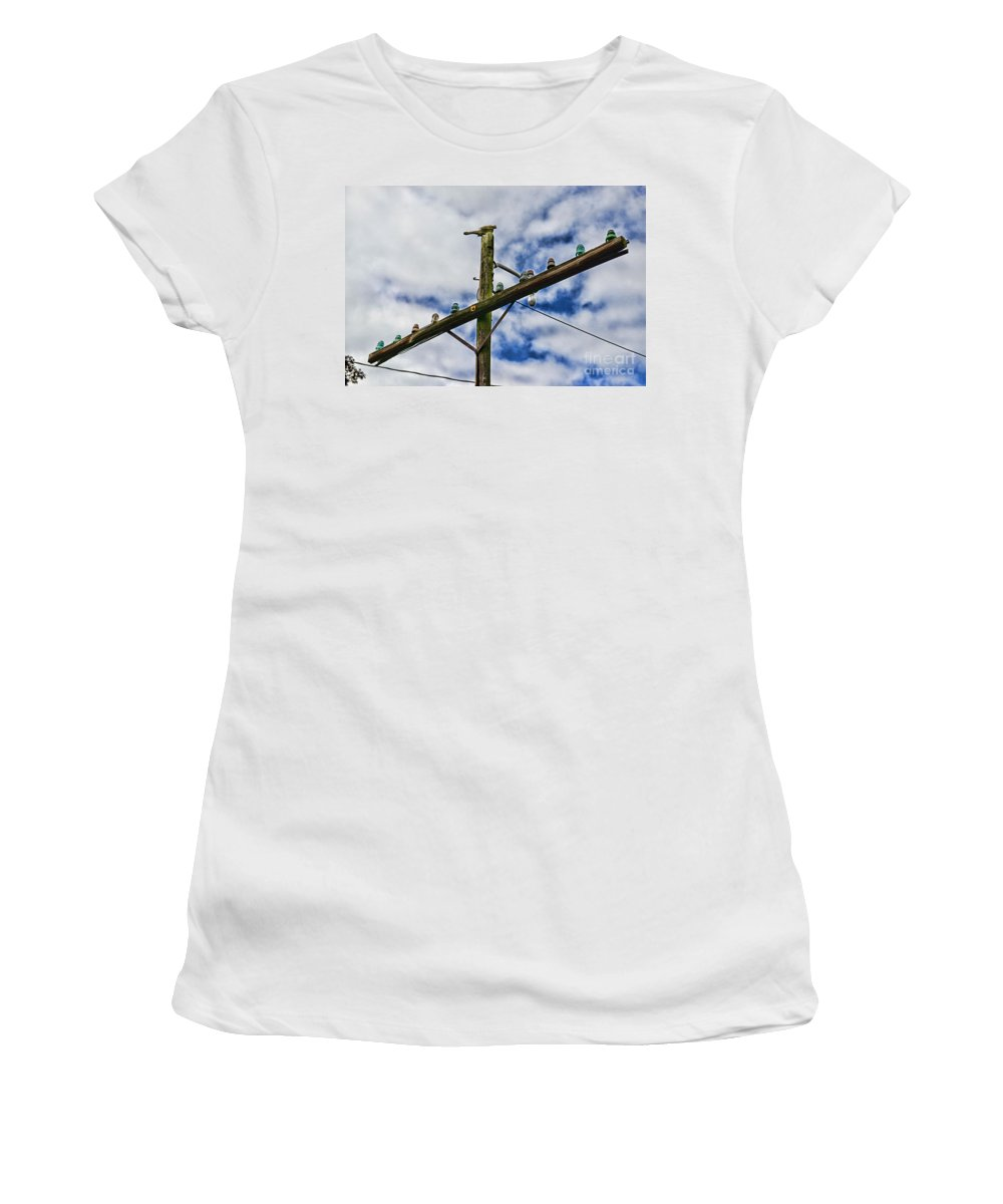 Paul Ward Women's T-Shirt featuring the photograph Telegraph Pole - Yesterdays Technology by Paul Ward