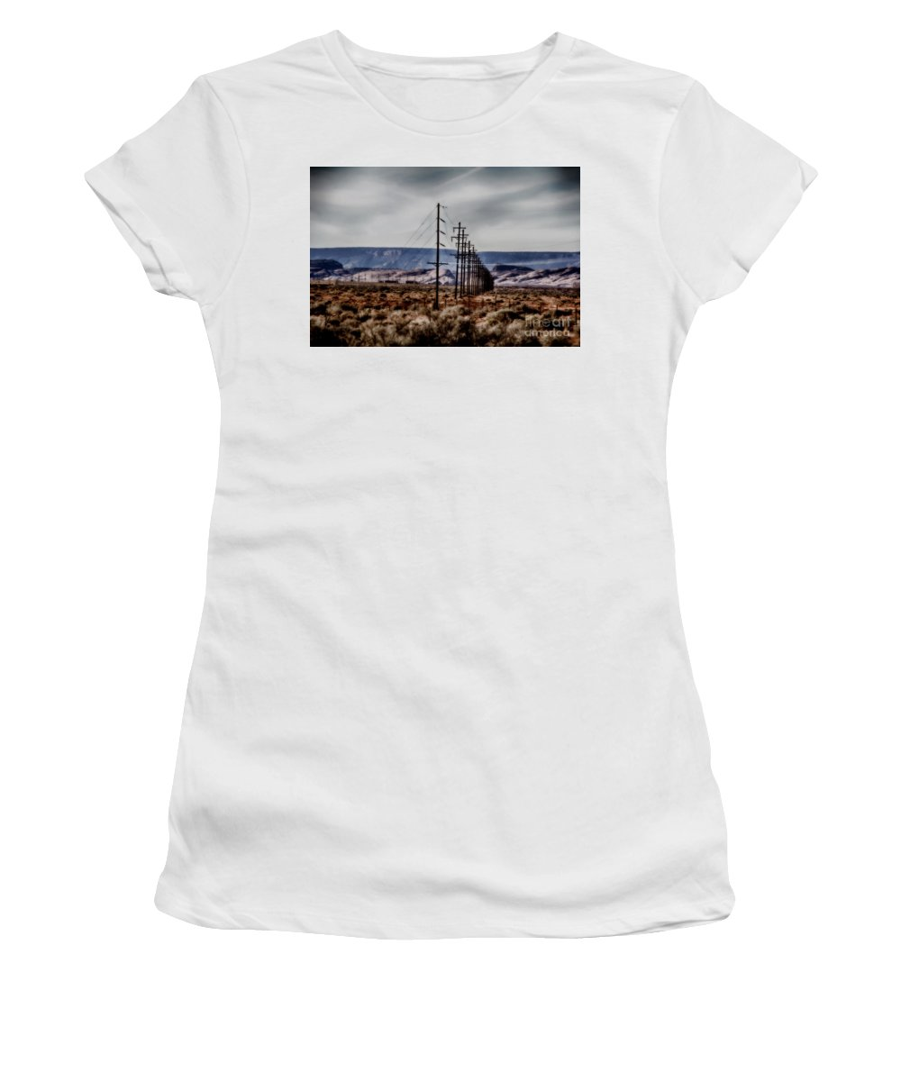 Monument Valley Women's T-Shirt (Athletic Fit) featuring the photograph Telegraph Road by Douglas Barnard