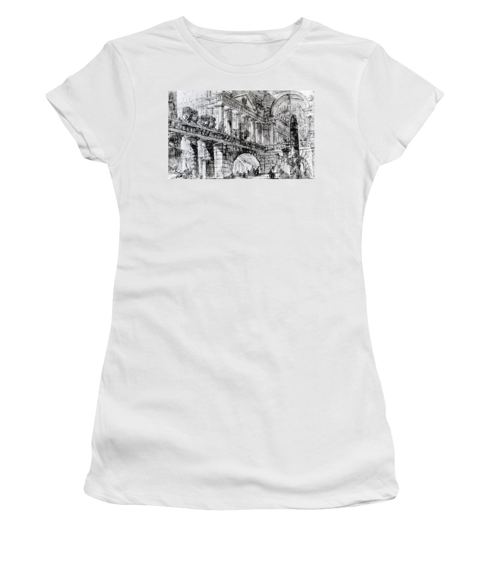 Interior; View; Imagined; Architecture; Drawing; Sketch; Obelisk; Imaginary; Invented; Design; Stone Monument; Monolith; Columns; Arches; Archways; Archway; Church; Place Of Worship Women's T-Shirt (Athletic Fit) featuring the drawing Temple Courtyard by Giovanni Battista Piranesi