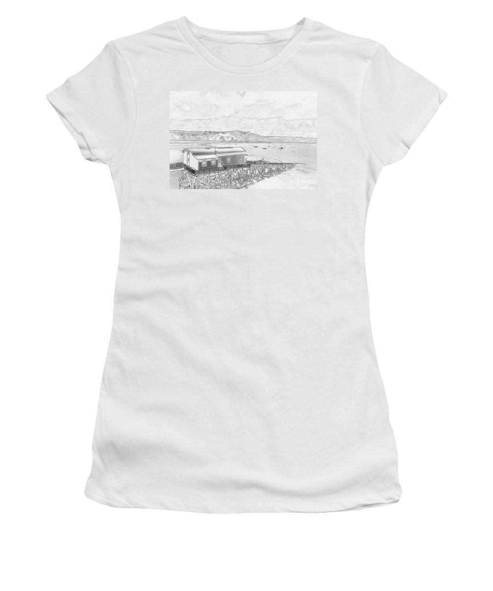 Tenby Women's T-Shirt (Athletic Fit) featuring the photograph Tenby Old Lifeboat Station by Steve Purnell
