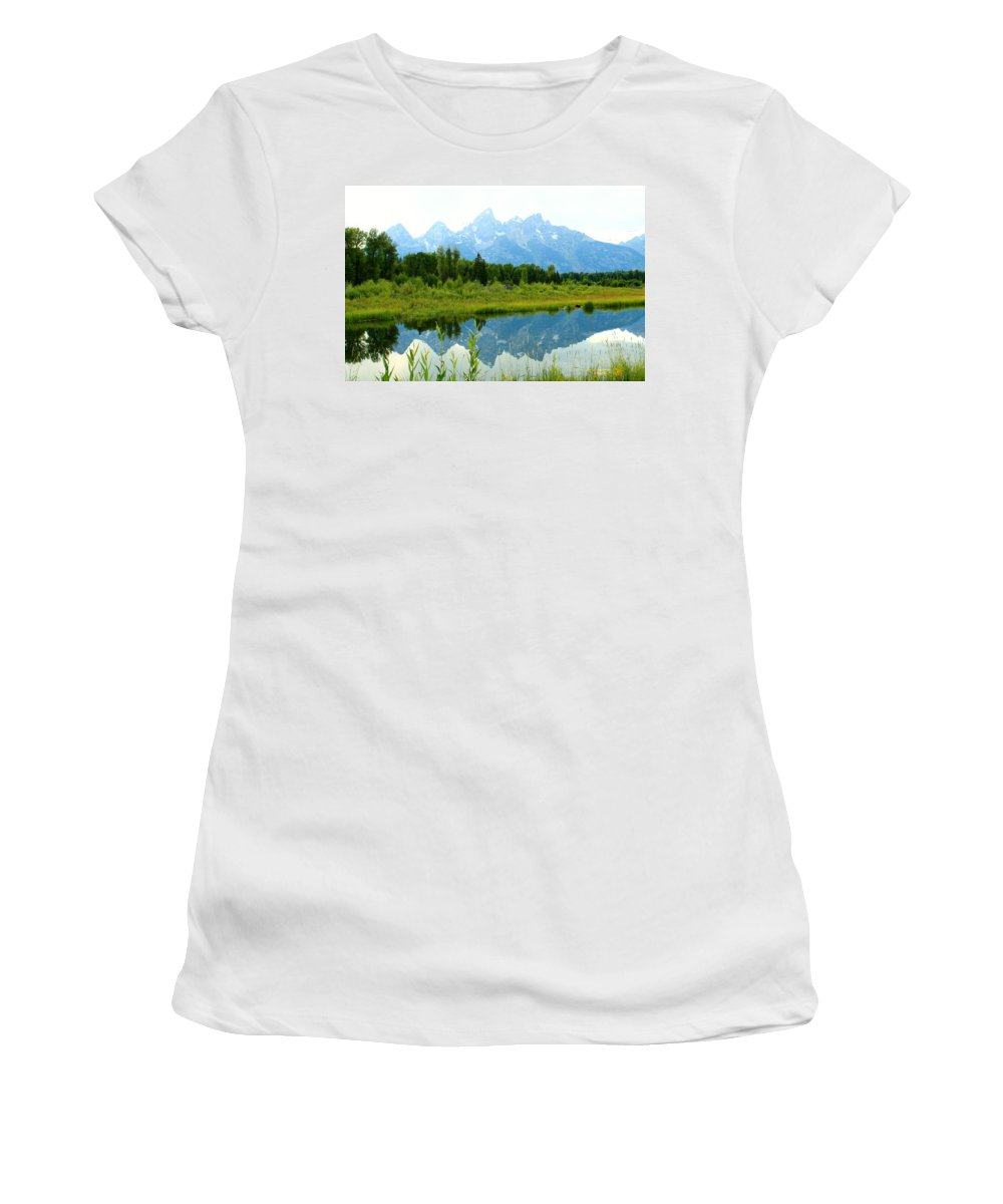 Grand Tetons Women's T-Shirt featuring the photograph Teton Reflections by Catie Canetti