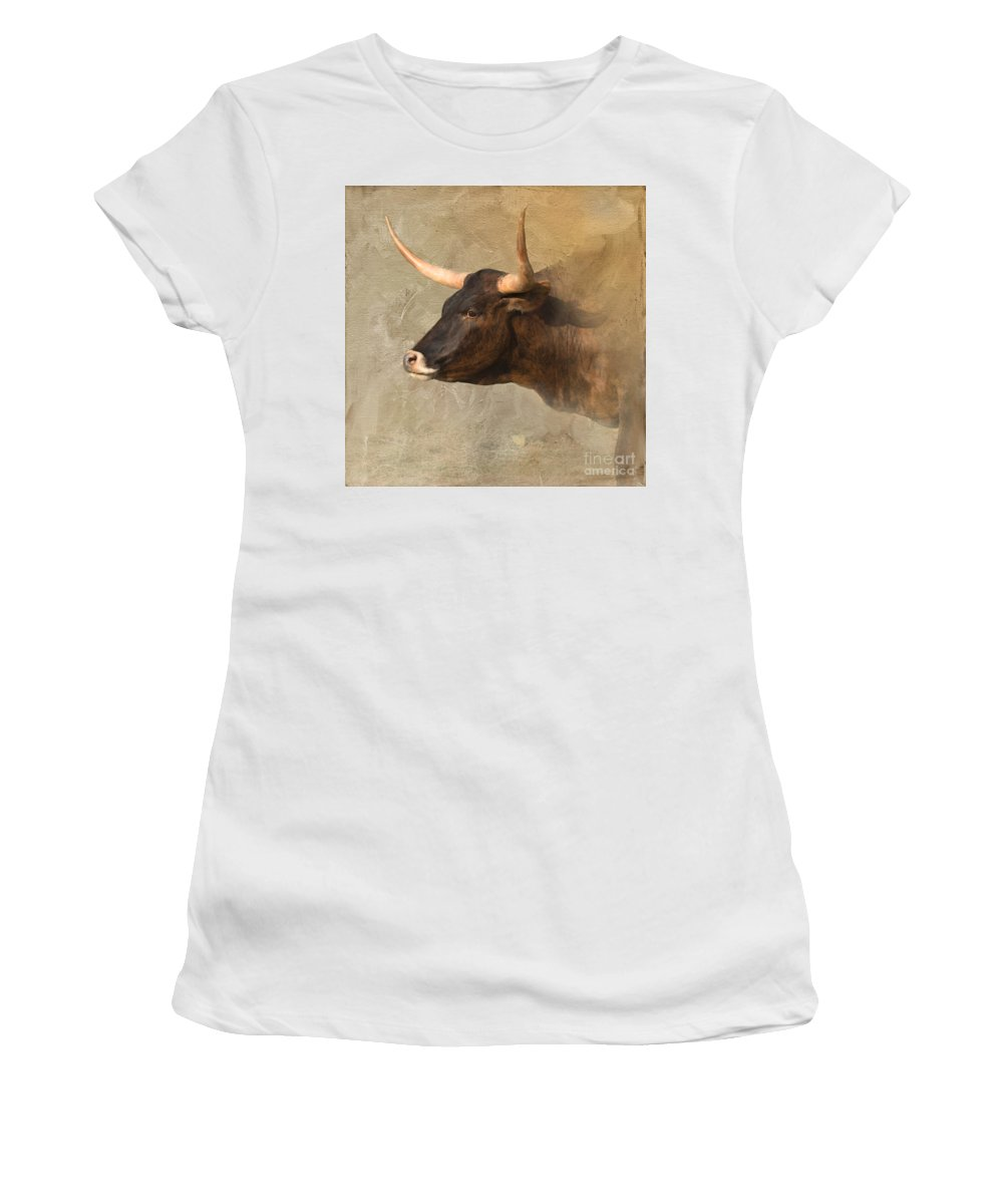 Texas Longhorn Women's T-Shirt (Athletic Fit) featuring the photograph Texas Longhorn # 3 by Betty LaRue