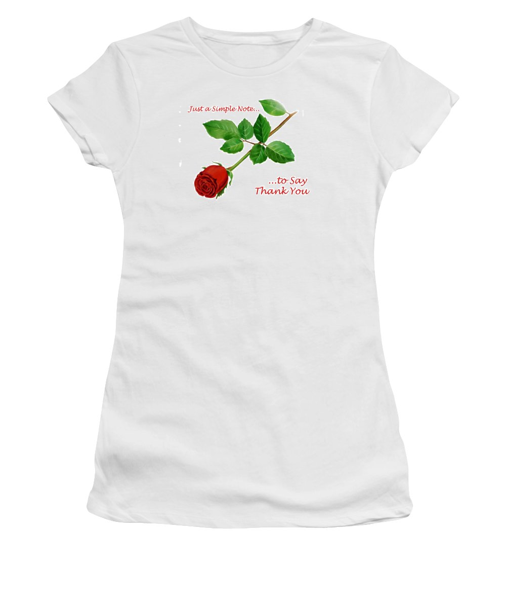 Rose Women's T-Shirt (Athletic Fit) featuring the painting Thank You Card  by Irina Sztukowski