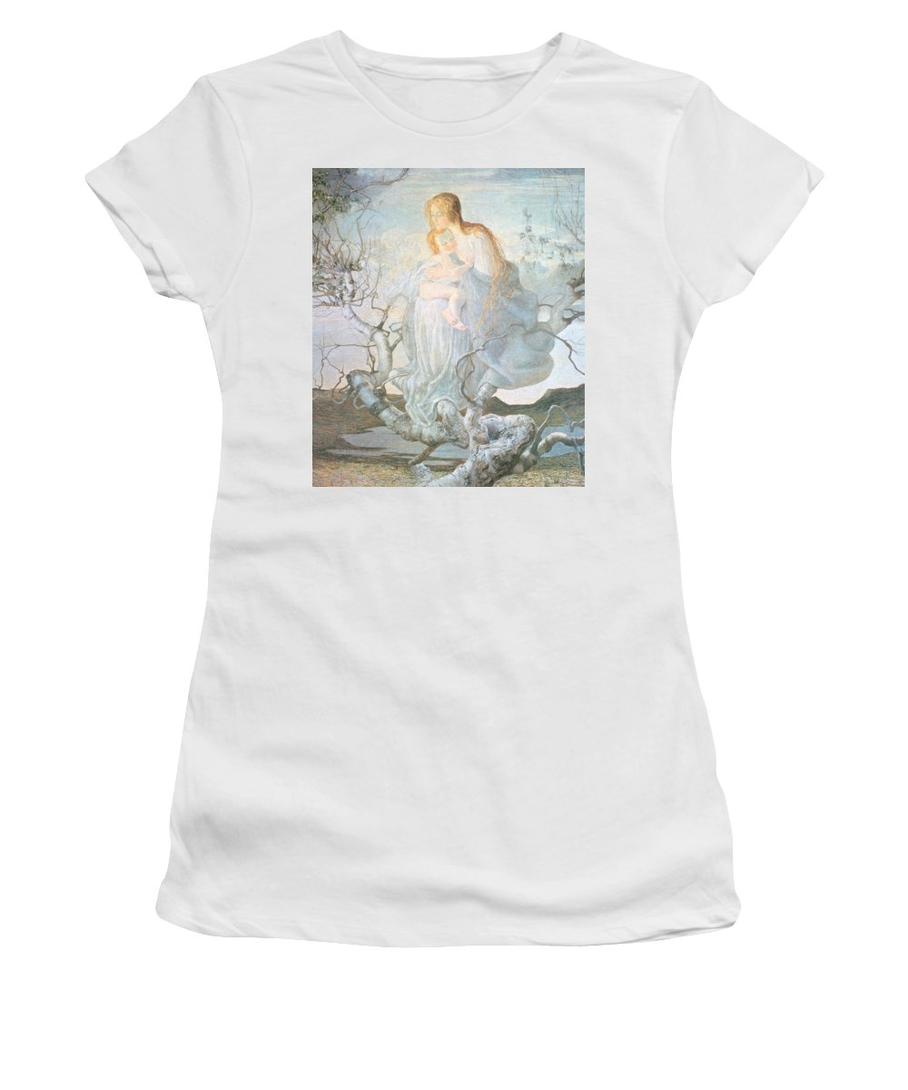 Mother And Child Women's T-Shirt (Athletic Fit) featuring the painting The Angel Of Life by Giovanni Segantini