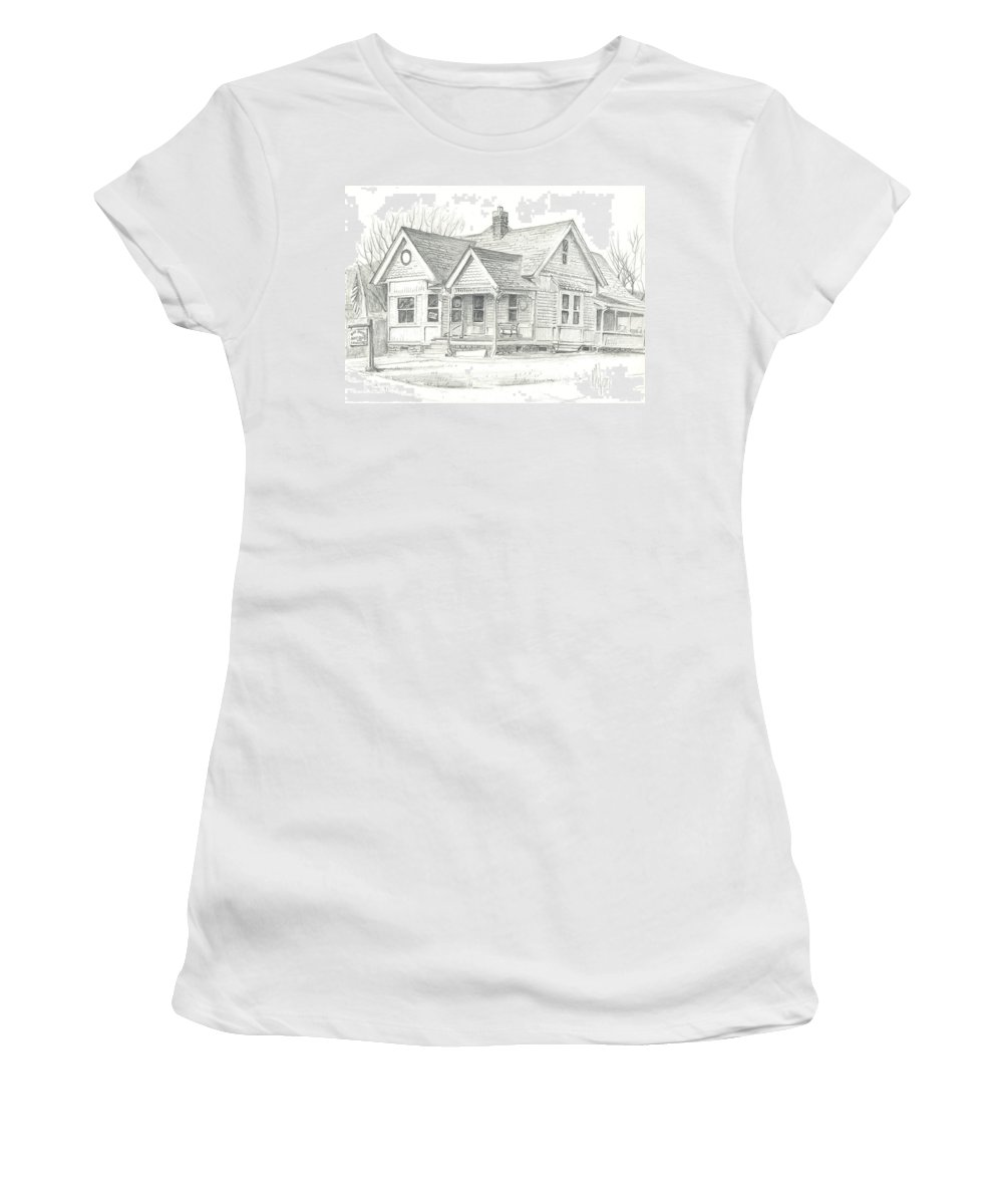 The Antique Shop Women's T-Shirt (Athletic Fit) featuring the drawing The Antique Shop by Kip DeVore