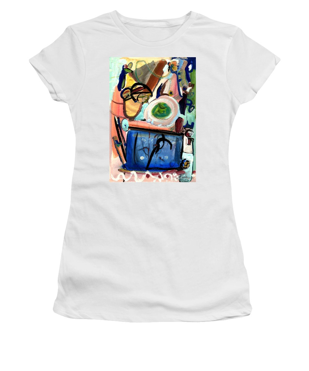 Abstract Art Women's T-Shirt (Athletic Fit) featuring the painting The Aquarium by Stephen Lucas