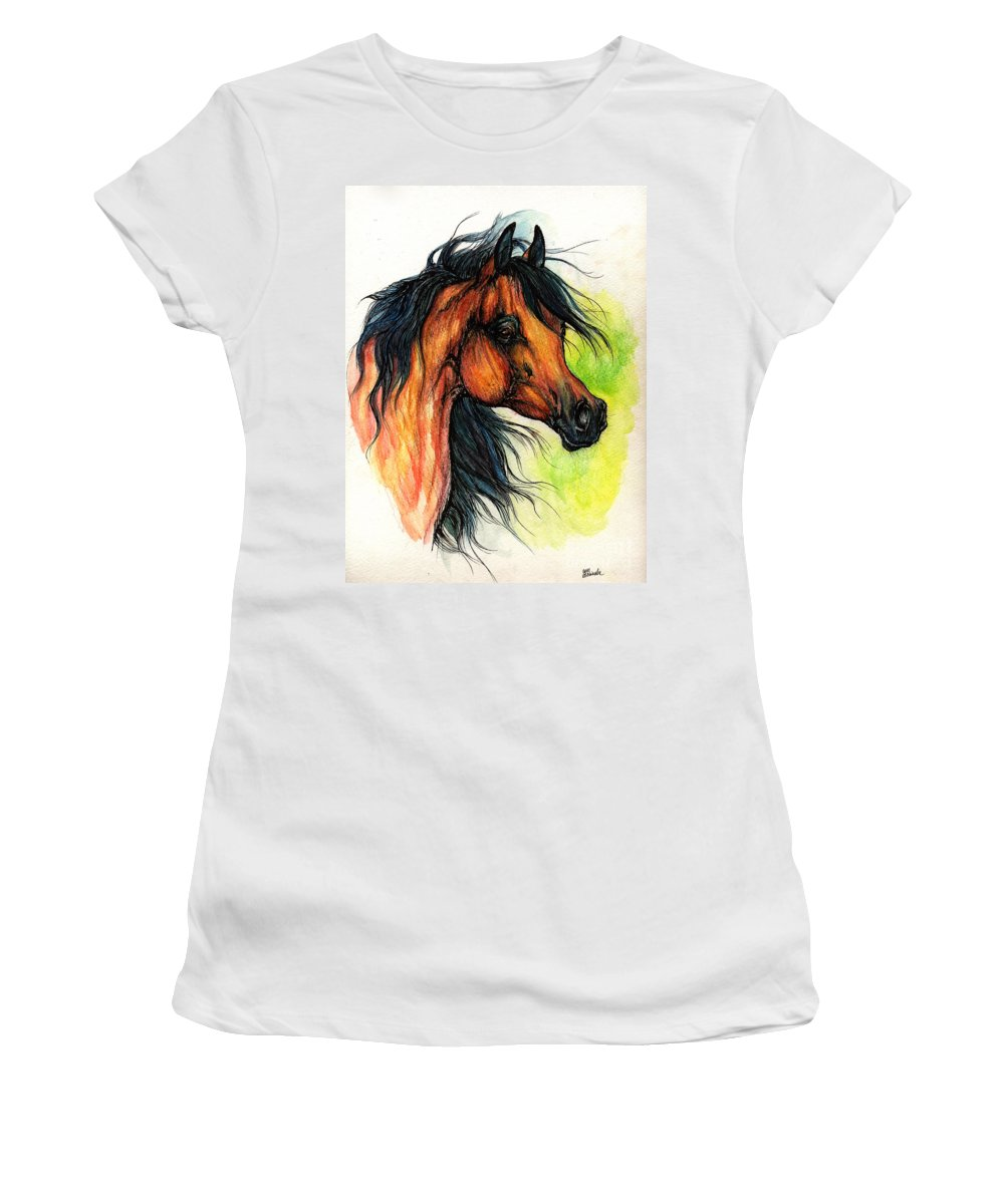 Horse Women's T-Shirt (Athletic Fit) featuring the painting The Bay Arabian Horse 11 by Angel Ciesniarska