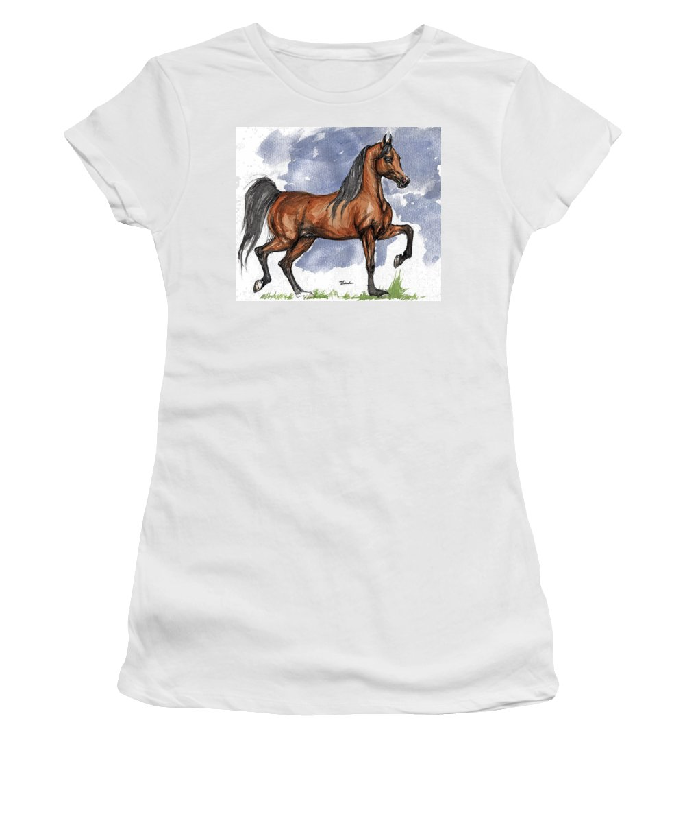Bay Women's T-Shirt (Athletic Fit) featuring the painting The Bay Arabian Horse 17 by Angel Ciesniarska