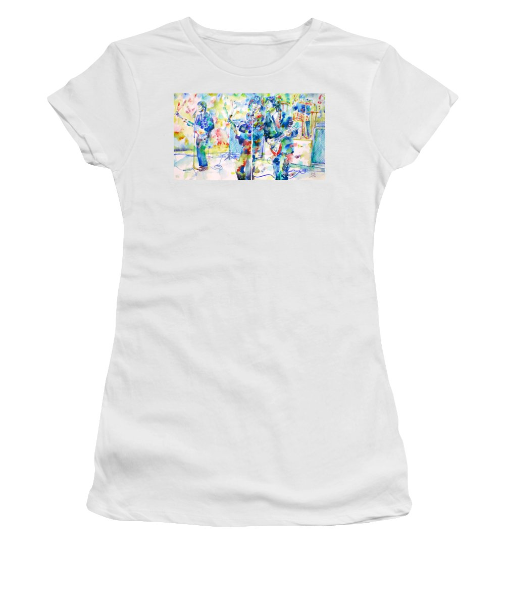 The Women's T-Shirt featuring the painting The Beatles Live Concert - Watercolor Portrait by Fabrizio Cassetta