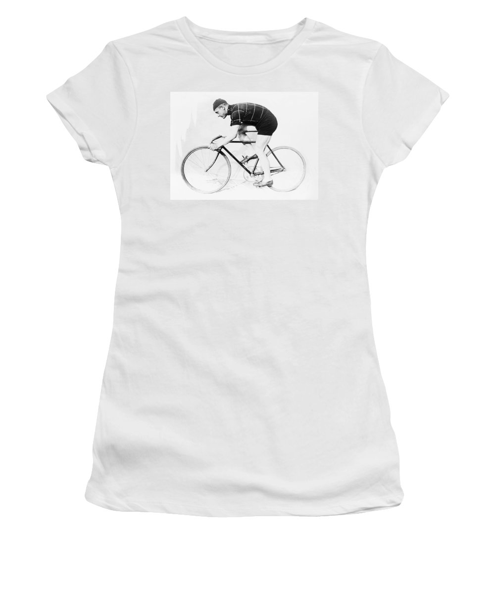 Bicycle Women's T-Shirt featuring the photograph The Bicyclist - 1914 by Daniel Hagerman