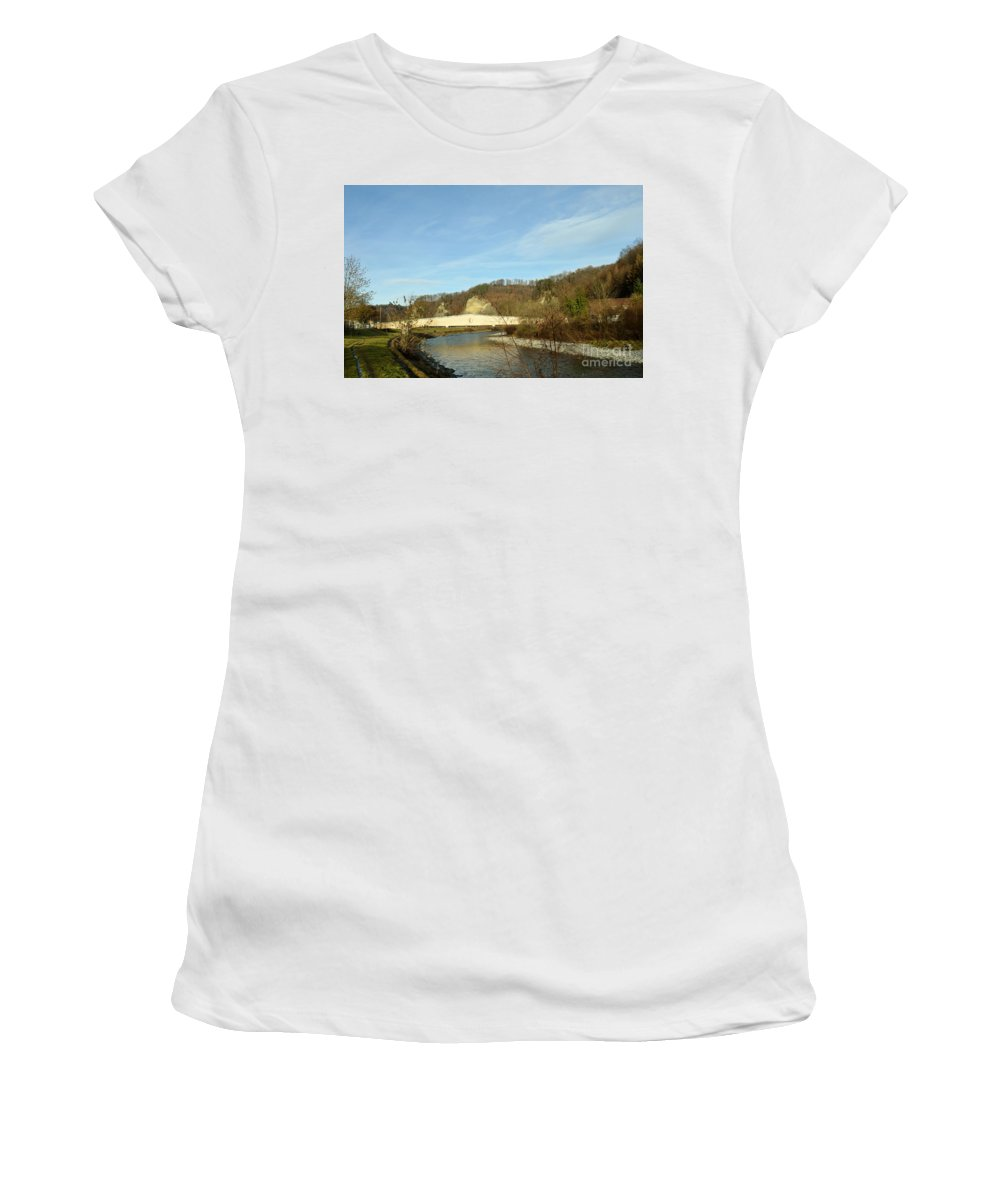 Landscape Women's T-Shirt (Athletic Fit) featuring the photograph The Bridge by Felicia Tica