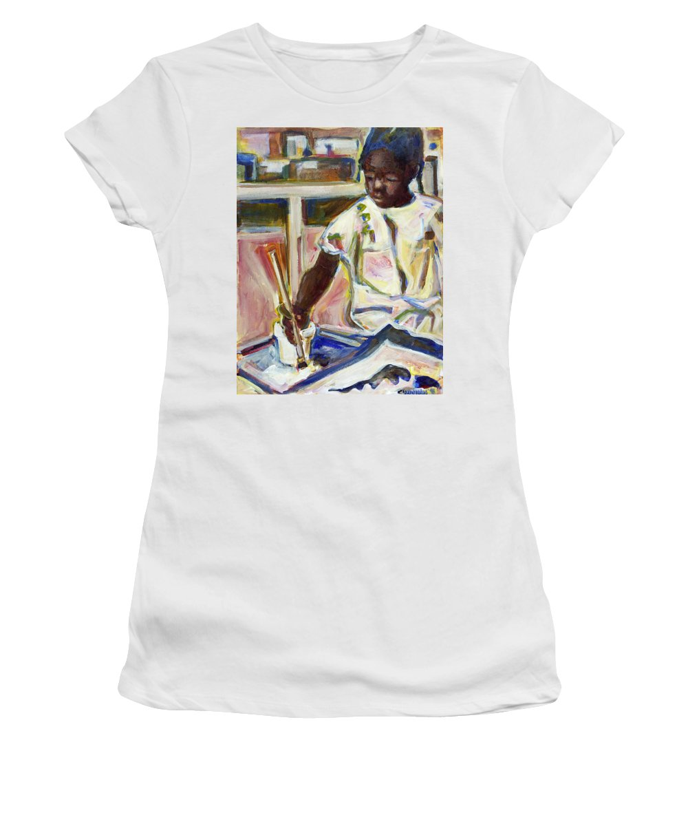 Art Women's T-Shirt (Athletic Fit) featuring the painting The Brush by Faye Cummings