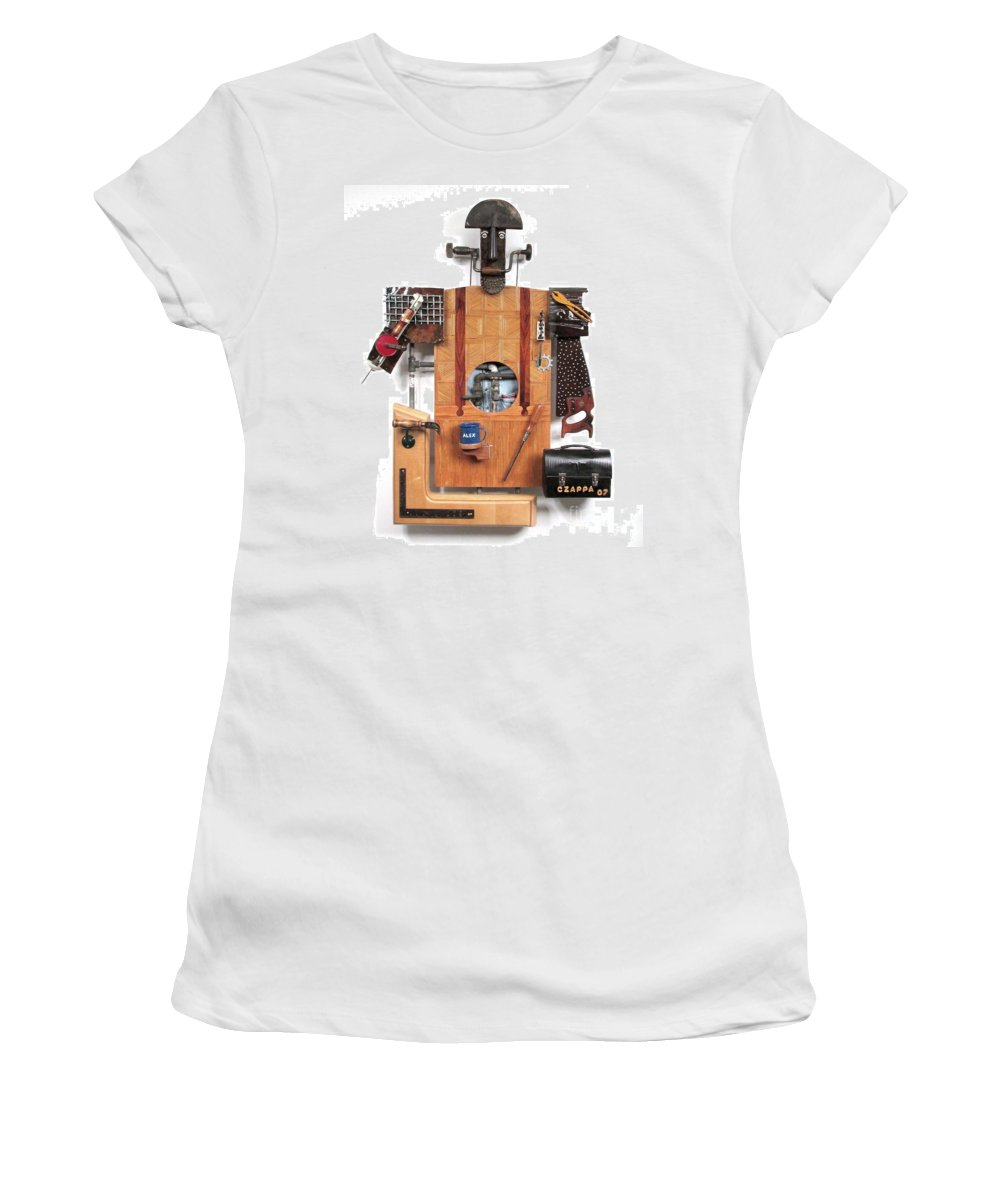 Czappa Women's T-Shirt (Athletic Fit) featuring the sculpture The Carpenter  #16 by Bill Czappa