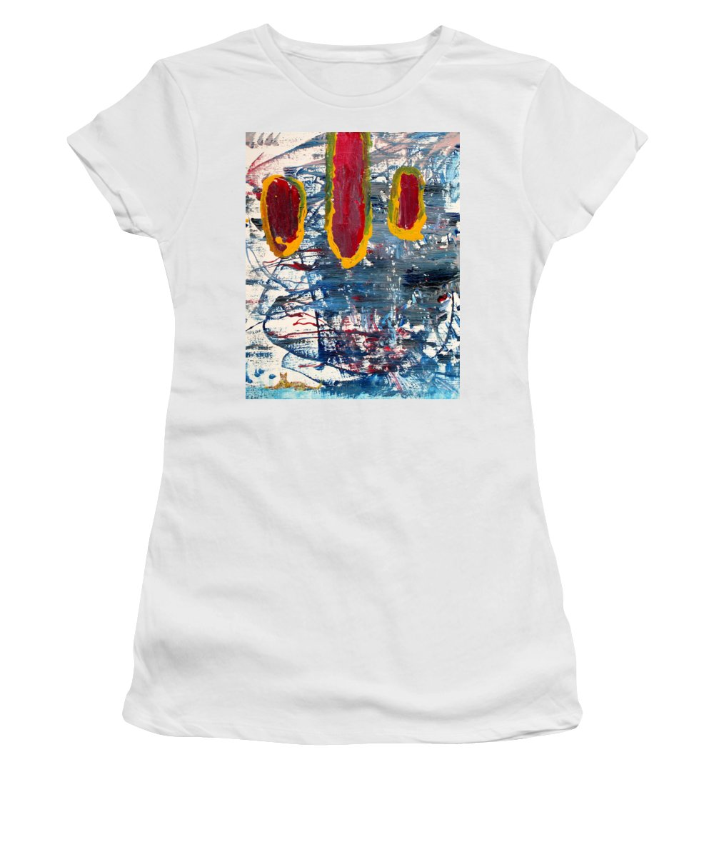Cat Women's T-Shirt featuring the painting The Tabby Cat Saw The Lights by Fabrizio Cassetta