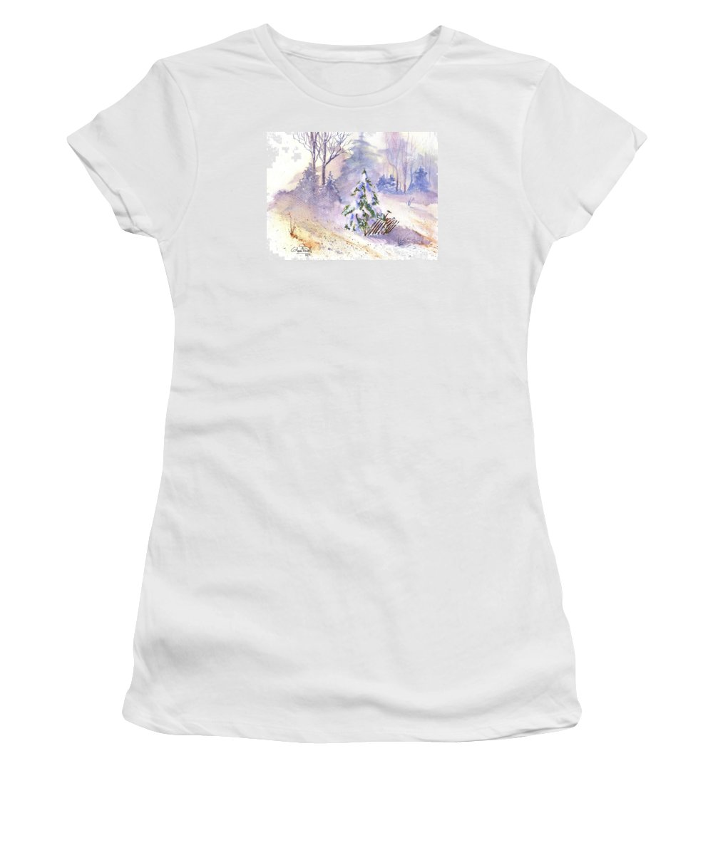 Landscape Women's T-Shirt (Athletic Fit) featuring the painting The Christmas Tree by Glenn Farrell