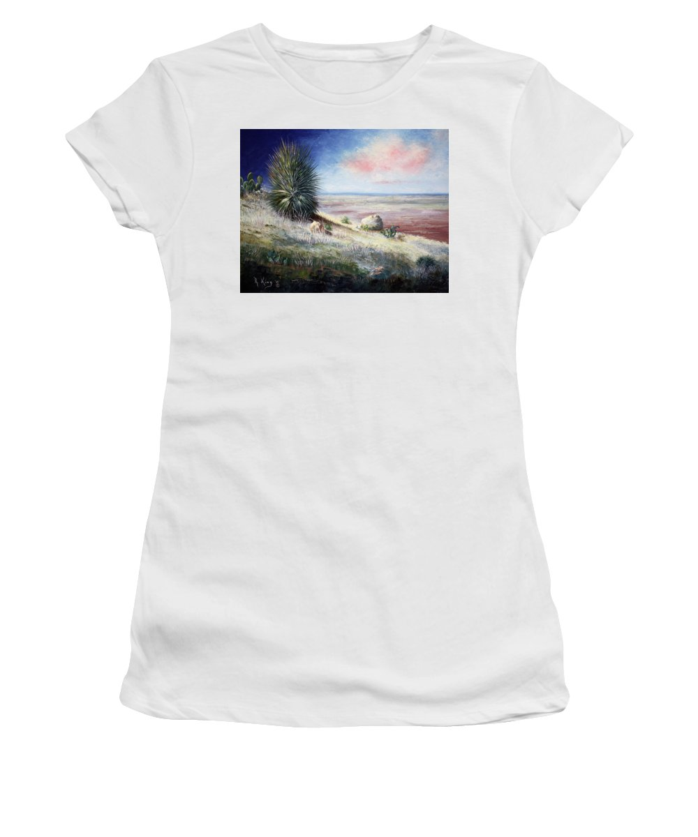 Roena King Women's T-Shirt (Athletic Fit) featuring the painting The Colors Of Evening by Roena King
