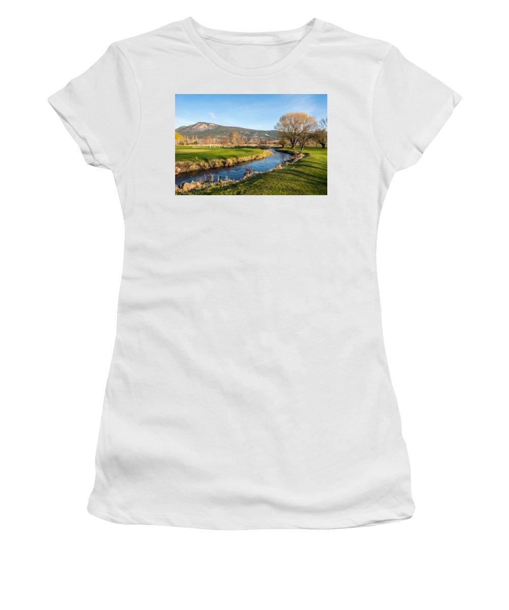Water Women's T-Shirt (Athletic Fit) featuring the photograph The Creek Runs Through by Randy Giesbrecht