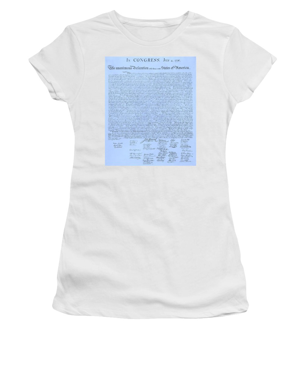 The Declaration Of Independence Women's T-Shirt featuring the photograph The Declaration Of Independence In Cyan by Rob Hans