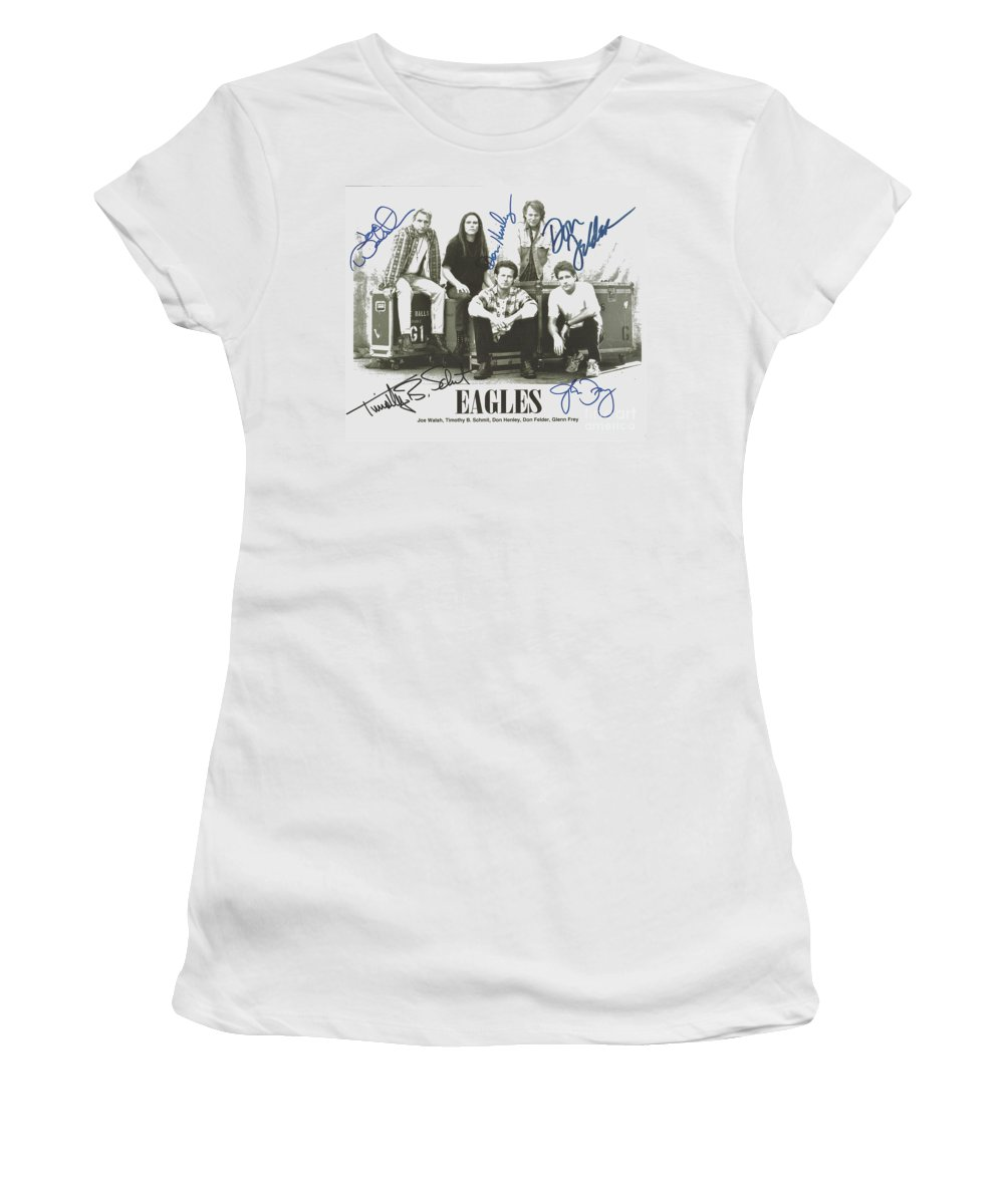 The Eagles Women's T-Shirt (Athletic Fit) featuring the photograph The Eagles Autographed by Desiderata Gallery