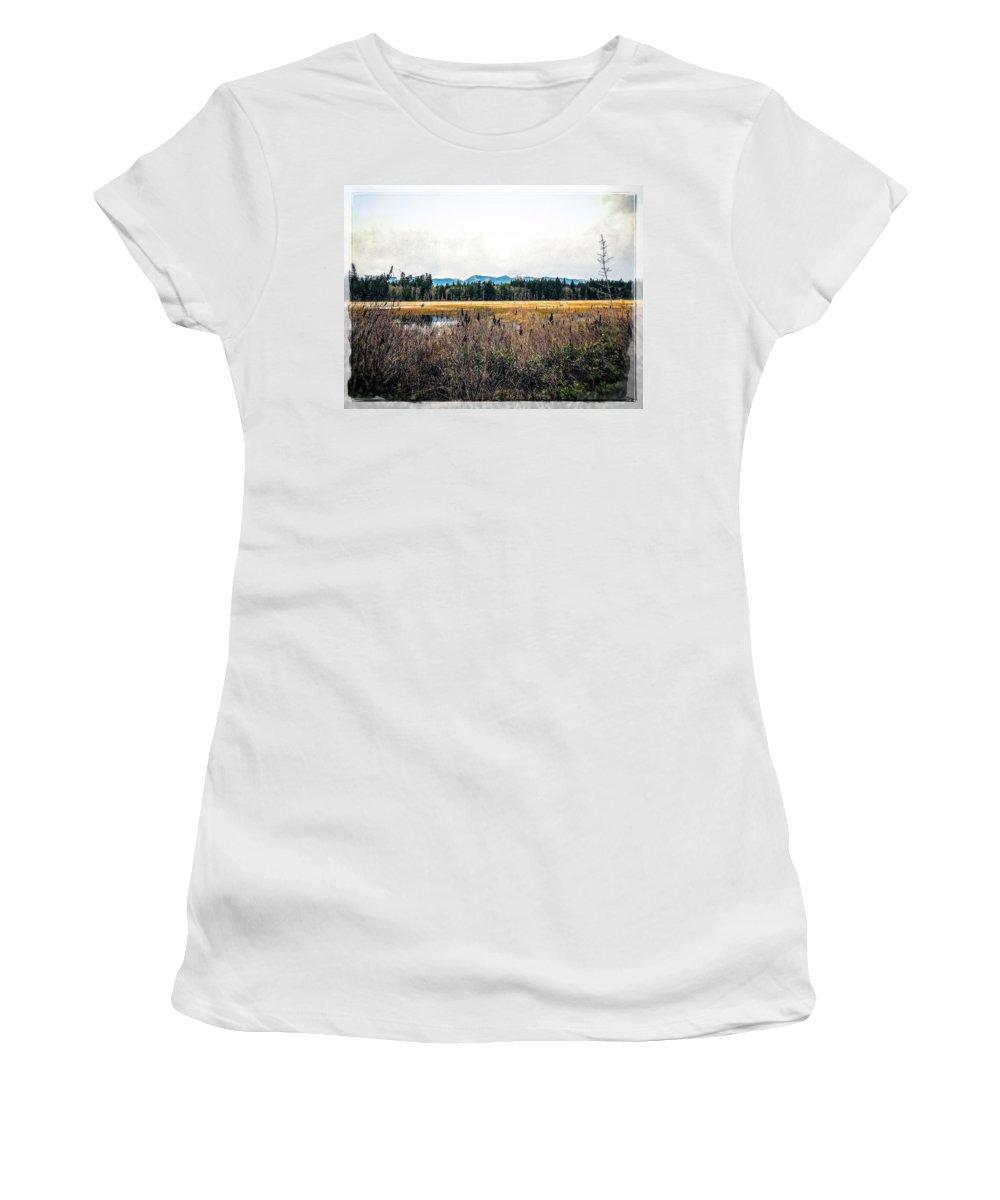 Hamilton Marsh Women's T-Shirt featuring the photograph Hamilton Marsh by Roxy Hurtubise