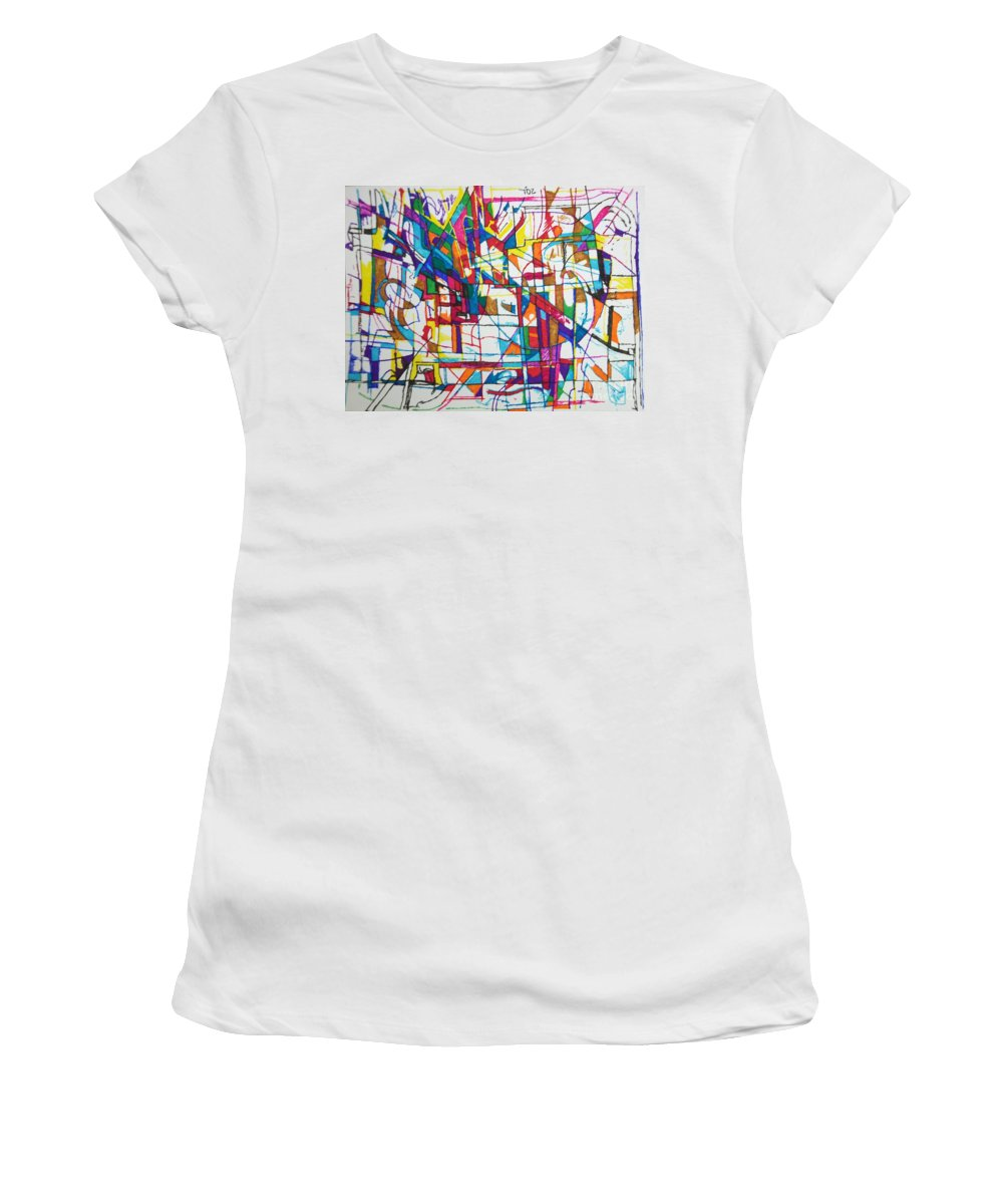 Torah Women's T-Shirt featuring the drawing The Faithful Village by David Baruch Wolk