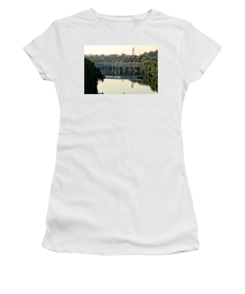 The Falls Bridge Over The Schuylkill River Women's T-Shirt featuring the photograph The Falls Bridge Over The Schuylkill River by Bill Cannon