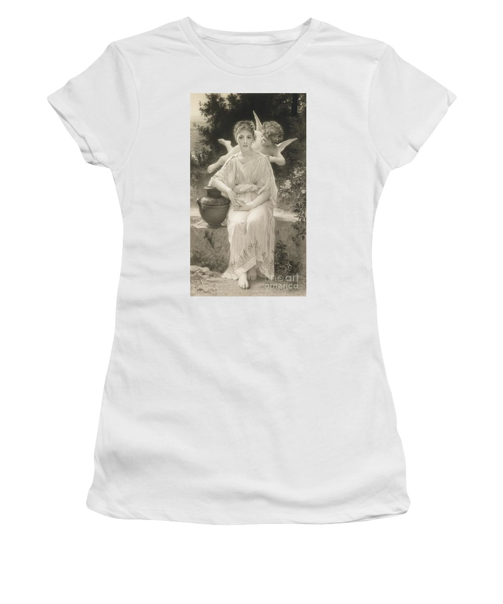 Female; Seated; Love; Cupid; Whisper; Whispering; Flying; Cherub; Vase; Amphora; Outdoors; Beauty; Monochrome; 19th; 20th Women's T-Shirt (Athletic Fit) featuring the drawing The First Whisper Of Love After Bouguereau by John Douglas Miller