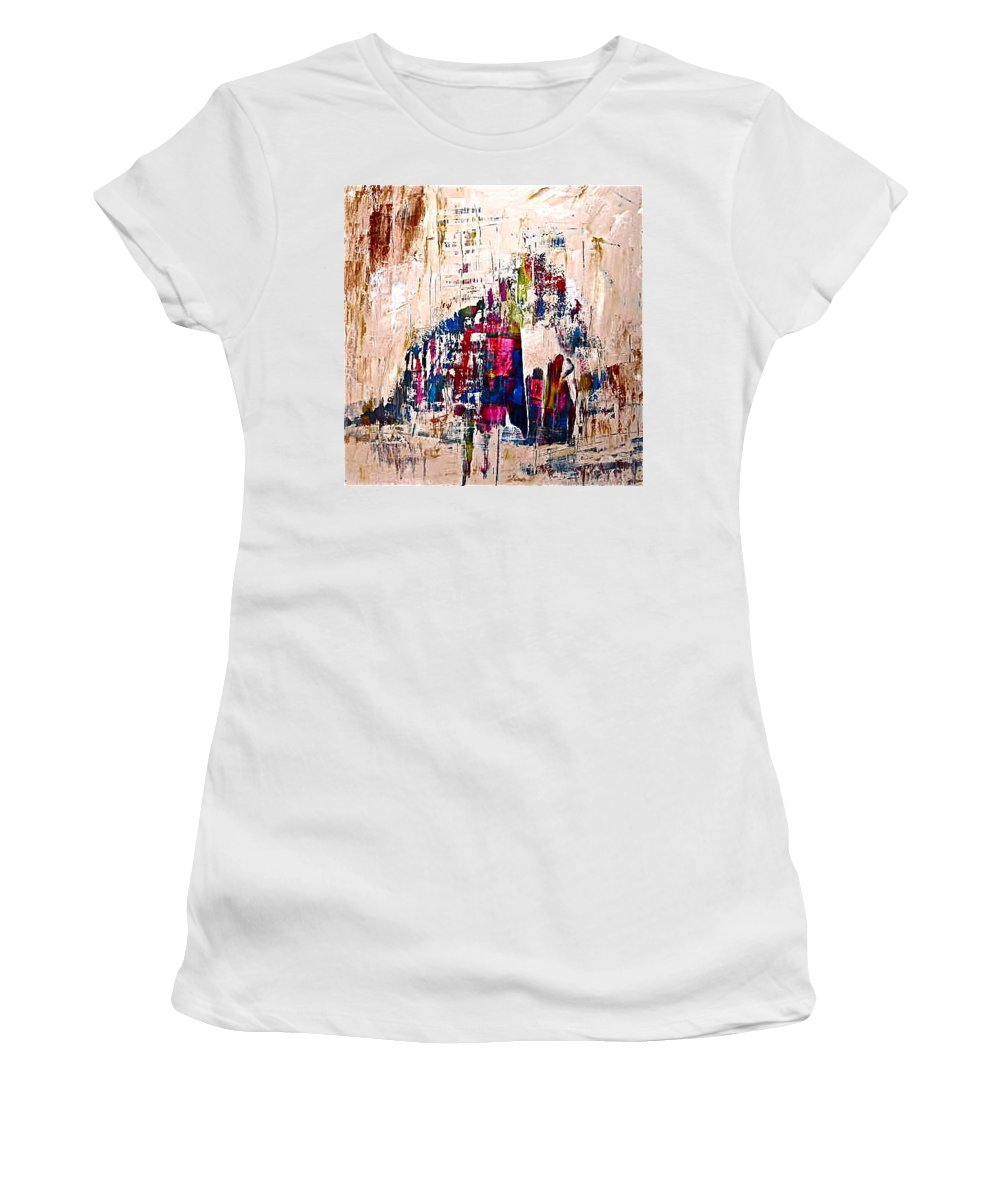 People Women's T-Shirt featuring the painting The Gathering by Janice Nabors Raiteri
