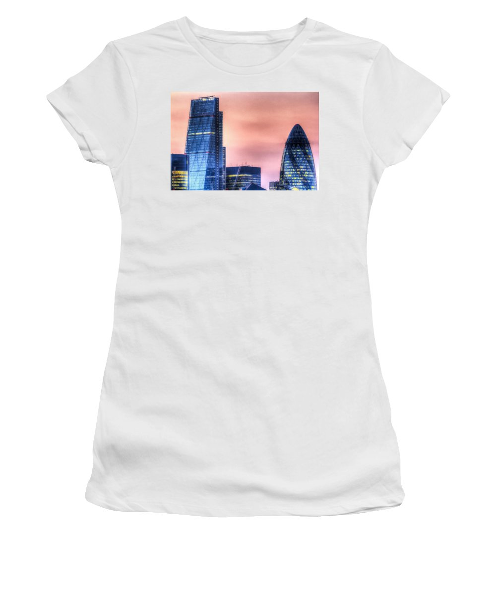 Cheesegrater Women's T-Shirt (Athletic Fit) featuring the photograph The Gherkin And The Cheesgrater London by David Pyatt