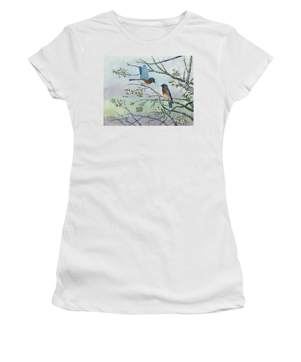 Bluebirds; Trees; Wildlife Women's T-Shirt featuring the painting The Gift by Ben Kiger