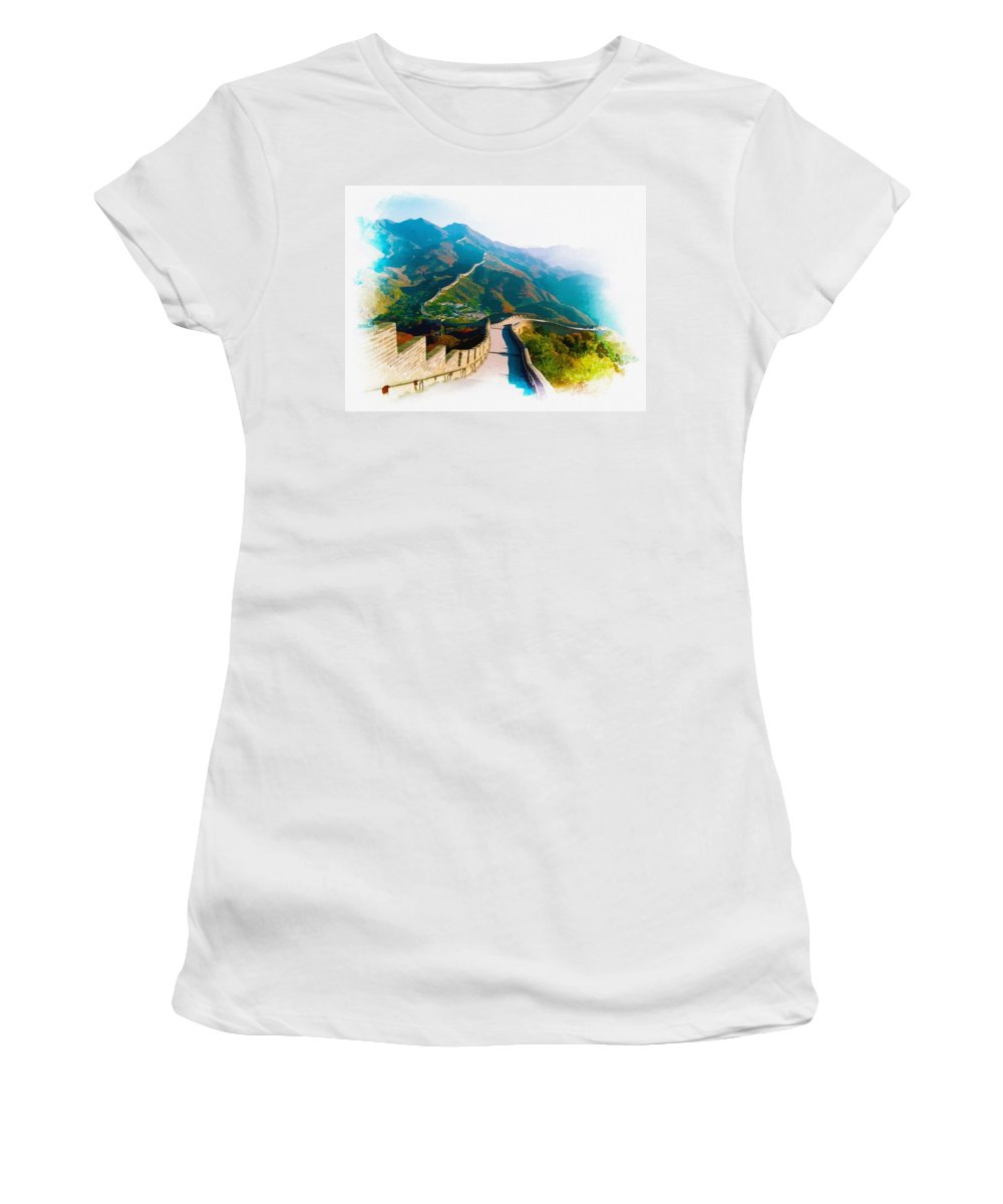 Great Wall Of China Women's T-Shirt featuring the digital art The Great Wall Of China by Don Kuing