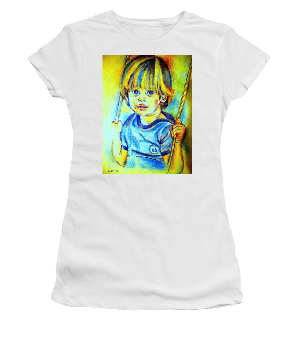 Child Women's T-Shirt featuring the drawing The Hammock by Helena Wierzbicki