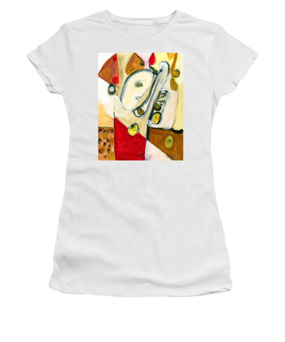 Abstract Art Women's T-Shirt (Athletic Fit) featuring the painting The Horn Player by Stephen Lucas